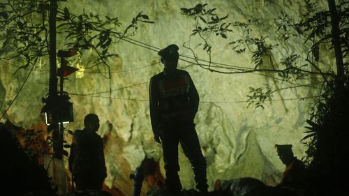 The regional government confirmed all 13 players from the football team are safe following the mammoth search operation in the Tham Luang caves in Chiang Rai. Picture: AP