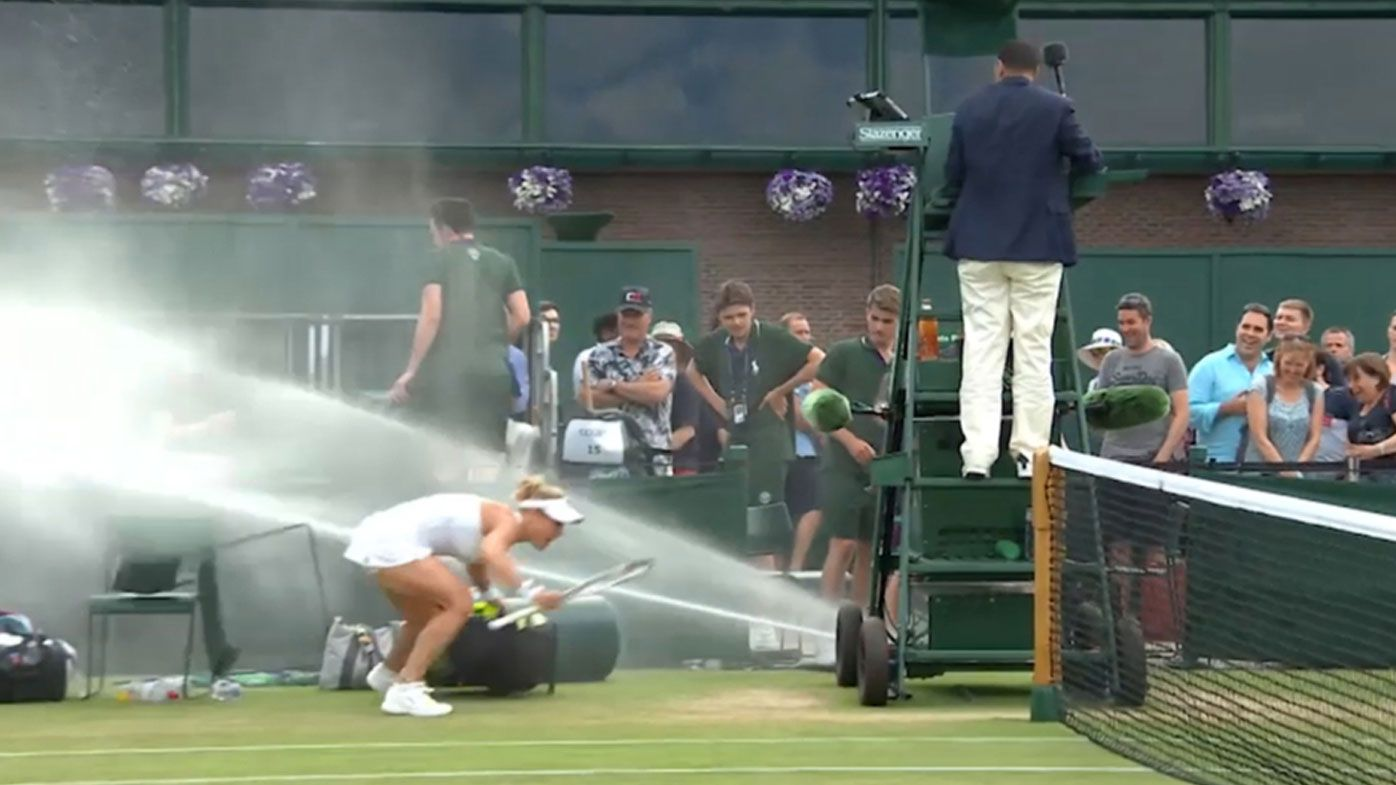 Wimbledon sprinkler issue causes havoc during mixed doubles match