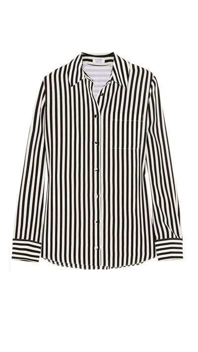 "<a href=""http://www.net-a-porter.com/product/537163/Altuzarra/chika-striped-silk-crepe-de-chine-shirt-"" target=""_blank"">Chika Striped Silk Crepe De Chine Shirt, $806, Altuzarra</a>"