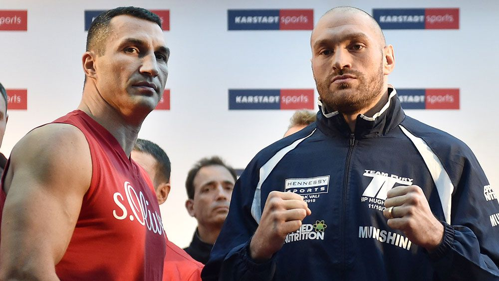 Wladimir Klitschko and Tyson Fury. (AAP)