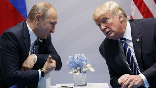 President Donald Trump meets with Russian President Vladimir Putin at the G20 Summit in July. (AAP)
