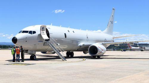 A file photo of a RAAF P-8A Poseidon aircraft at Fairbairn air base in Canberra. (AAP)