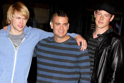 Chord Overstreet, Mark Salling and Cory Monteith pose for NYC photographers.