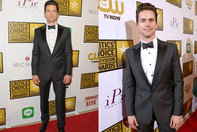 Matt Bomer oozes sex on the red carpet, with his swept back hair and three-piece tux. Bonus points on the bow tie!