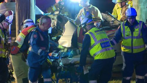 Both women were trapped by their legs in the crash. (9NEWS)