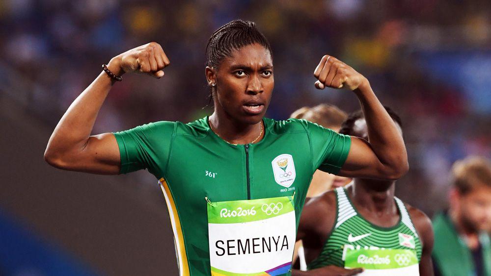 Caster Semenya celebrates her 800m win. (AAP)