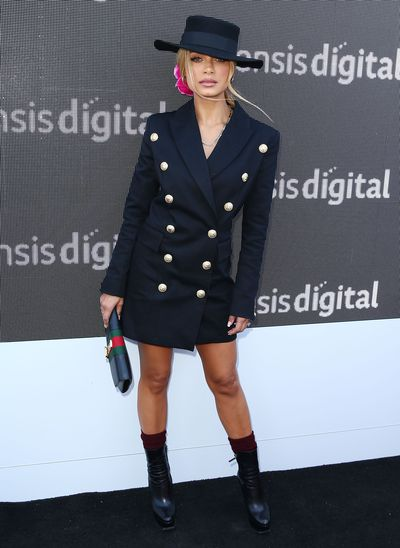 Singer Havana Brown in a Balmain tuxedo dress