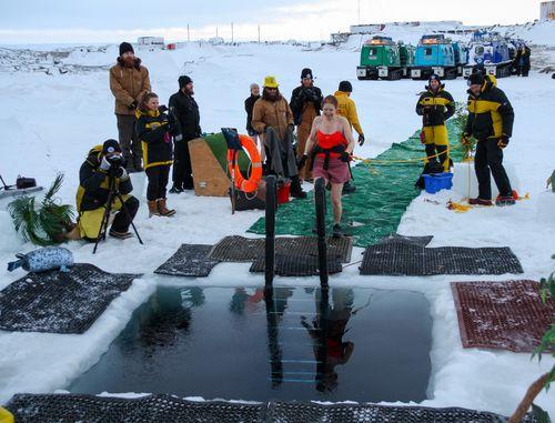 Antarctica winter solstice swim