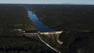 Warragamba Dam in August last year, when levels also reached 97.7 percent capacity.