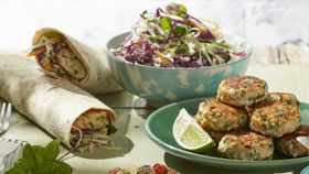 Thai salmon cakes and salad wraps