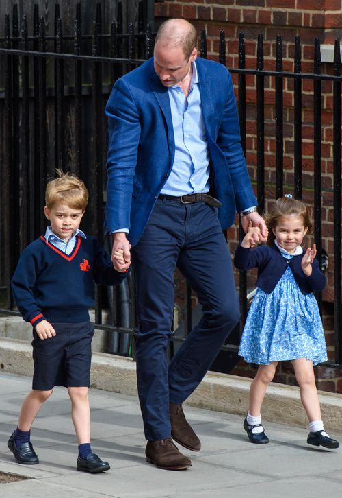 The Duke of Cambridge walked Prince George and Princess Charlotte to the Lindo Wing at St Mary's Hospital. (AAP)