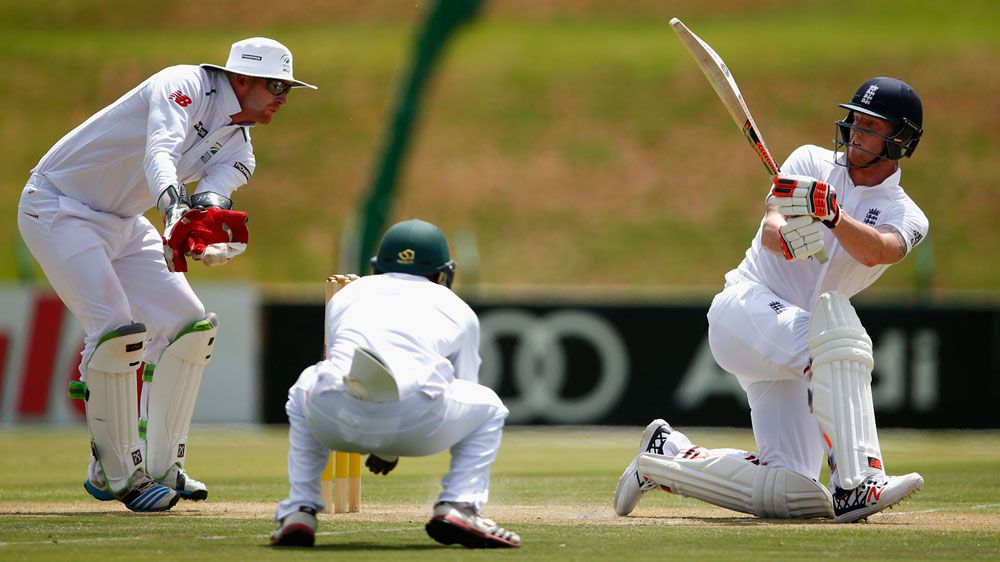 Ben Stokes hits a boundary on his way to a century. (Getty)