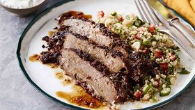 Butterflied lamb leg with quinoa tabouli