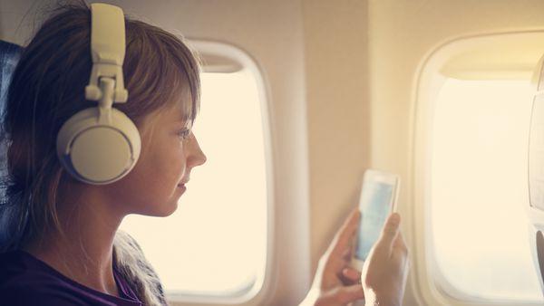 Girl on plane