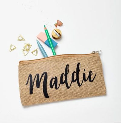 "<p>Aint nobody going to accidentally take your pencil case when your name is plastered all over it.</p> <p><a href=""https://www.hardtofind.com.au/131810_personalised-name-pencil-case"" target=""_blank"">Personalised Name Pencil Case by Tillyanna, $30.</a></p>"