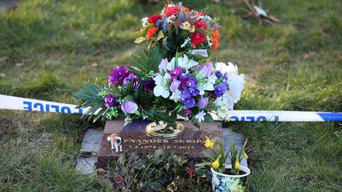 A memorial plaque for Alexander Skripal, the son of ex Russian spy Sergei Skripal. (AP/AAP)