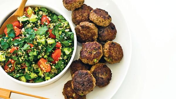 Lamb koftas with rustic tabouli