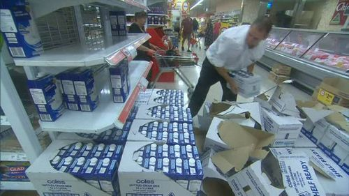 Emergency supply shoppers kept staff busy. (9NEWS)