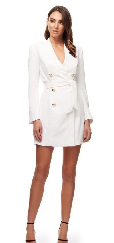 """<a href=""""https://www.kookai.com.au/products/edwina-blazer-dress-natural-white"""" target=""""_blank"""">Kookai Edwina Blazer Dress</a>, $220.00"""