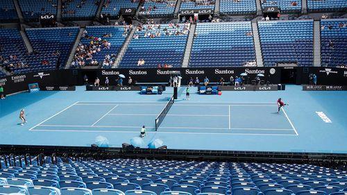 United States' Serena Williams, right, serves to Russia's Anastasia Potapova during their third round match on Rod Laver Arena.
