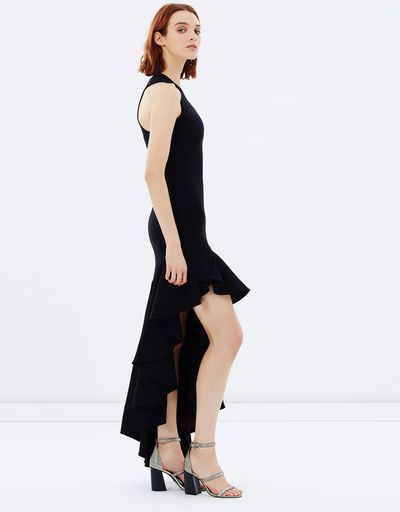 "Black tie with a twist<br /> This Michael Lo-Sordo gown hedges your bets with an asymmetric hemline that shows some leg.<br /> <a href=""http://www.theiconic.com.au/legion-scoop-neck-body-con-frill-maxi-dress-435385.html"" target=""_blank"">Michael Lo Sordo</a> scoop neck maxi dress $539.99<br />"