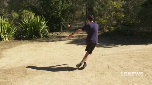 The 18-year-old has garnered millions of views online for his soccer skills. (9NEWS)