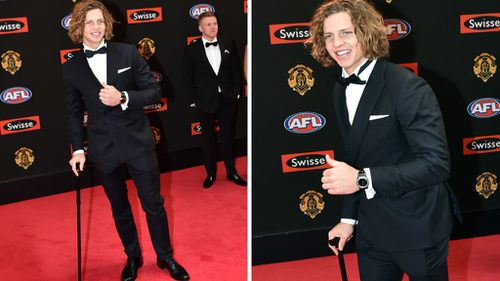 An injury in Friday's match didn't stop him on the red carpet. (AAP)
