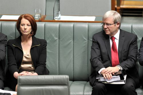 Prime Minister Julia Gillard and foreign minister Kevin Rudd pictured in 2010 following the spill.