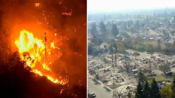 Drone captures the chaos and devastation caused by the California wildfires