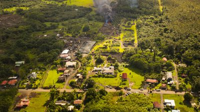 The river of lava flowing from Hawaii's Kilauea volcano is approaching homes in the Big Island village of Pahoa. The lava has been en route for months after the volcano, one of the world's most active, erupted mid-year. (Getty)
