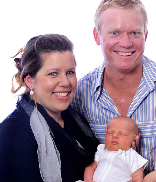 Lana Cormie and Charlie Howkins with their son George.