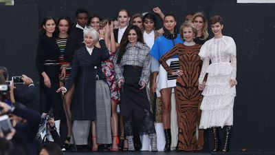 The L'Oreal models gathered for the show's finale.