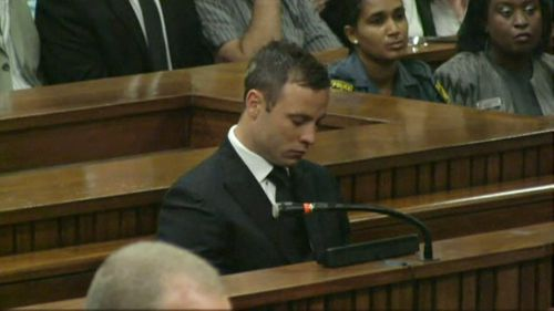 Oscar Pistorius in the dock during the trial. (Getty)