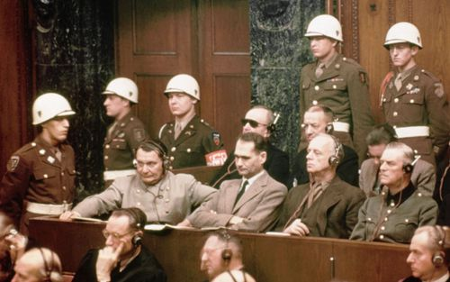 Rudolf Hess, seated, second from left, at the Nuremberg trials in 1946.