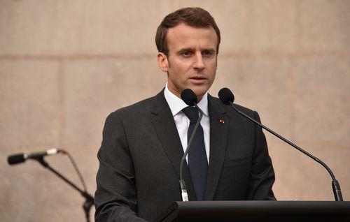 President Macron speaks at the Anzac war memorial in Sydney. Picture: AAP