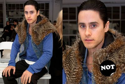 We're all for guys doing fashion, except when they do this. Wrong, Jared Leto, wrong.