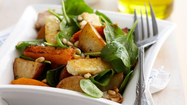 Warm roast vegetable, haloumi and pine nut salad