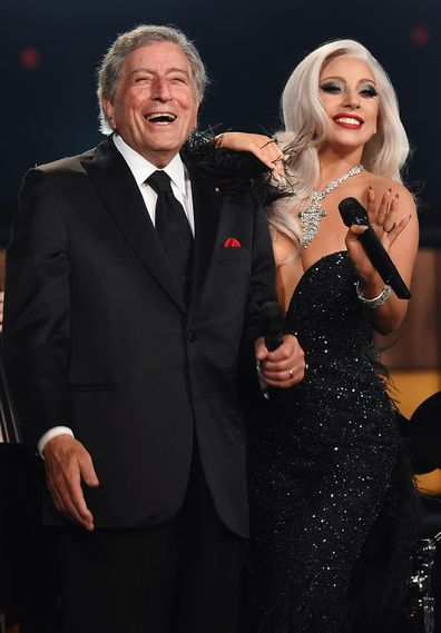 Lady Gaga and Tony Bennett attends The 57th Annual GRAMMY Awards at the STAPLES Center on February 8, 2015 in Los Angeles, California.