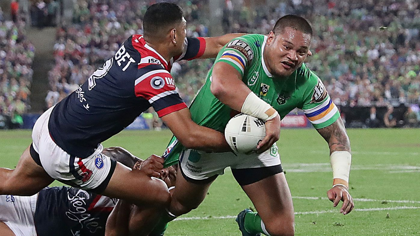 Canberra's new recruit Curtis Scott putting pressure on Raiders star Joseph Leilua