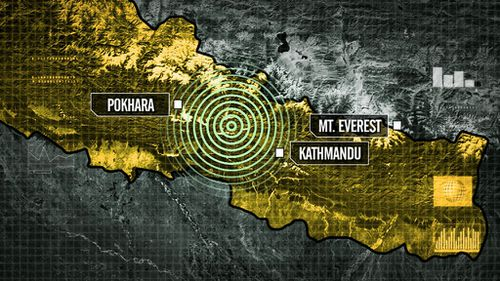 The earthquake affected a whole stretch of the Himalayas. (9NEWS)
