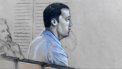 A sketch of Alex Reuben McEwan in court.