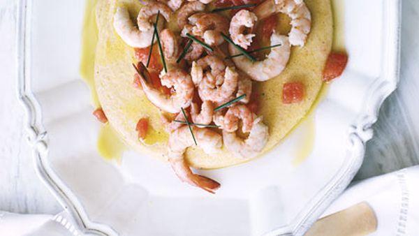Baby prawns with polenta