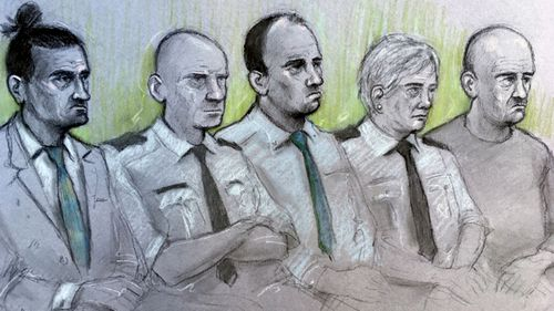 A court artist sketch of, left to right, David Osborne, male custody officer, Ieuan Harley, female custody officer and Darran Evesham, during their trail at Newport Crown Court.