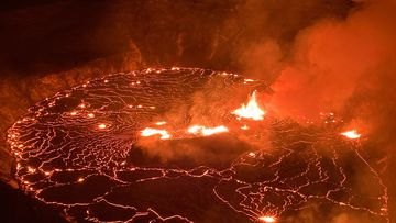 Gases that emanate from the volcano can be dangerous if inhaled.  (USGS via AP)