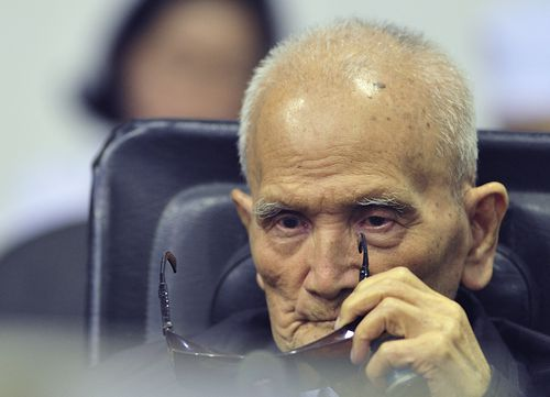 Nuon Chea, who was the Khmer Rouge's chief ideologist and No. 2 leader, heard the guilty verdict today.