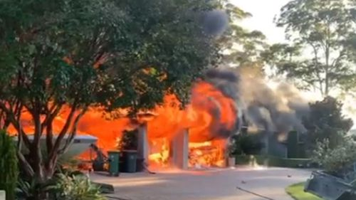 A house is on fire on the NSW Central Coast, north of Sydney.
