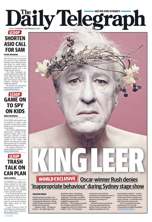 "The Daily Telegraph published the story under the front-page headline of ""King Leer""."