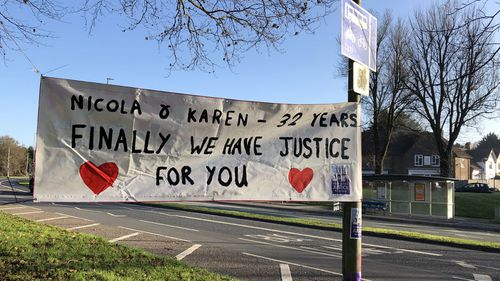 A banner in Brighton, UK, after the verdict on the Babes in the Wood murders