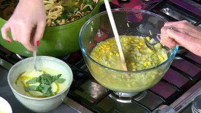 Ten minute microwave leek and corn soup