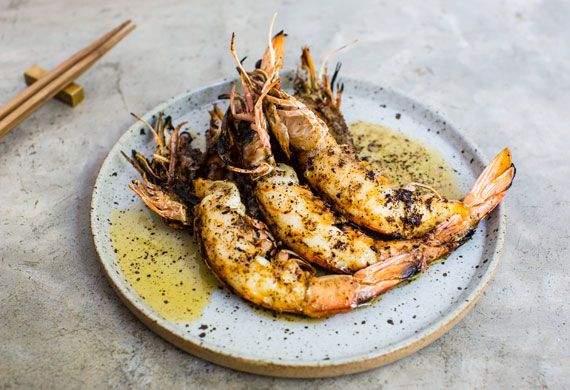 Grilled king prawns, kombu butter